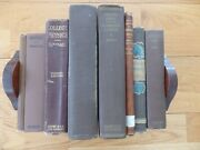 Lot Of 8 Antique Vintage Books Brown Covers Library Decor Props Free Shipping