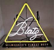 Blatz Beer Advertising Neon Sign W/lighted Bottom Marquee - Nice - 30 X 26-3/8