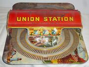 Union Station Metal Tin Toy Train Track And Building By Automatic Toy - 20 X 14.25