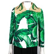 Dolce And Gabbana - Banana Leaf Print Jacket Green White Straw Collar Us 00 - 36