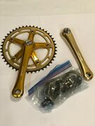 Vintage Os Rare Bmx Gold Anodized Tourney Ad 170 Racing Cranks W/chainring