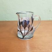 Vintage Small Silver Overlay Clear Glass Pitcher Creamer Vase