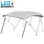 600d Bimini Top Boat Roof Cover 8ft Length 4 Bow Canopy Sun Shade With Rear Pole