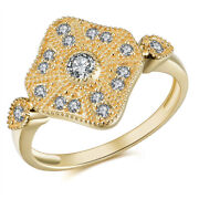 0.31ct Real Natural Diamond Fancy Ring Jewelry Birthday Gift 14k Yellow Gold