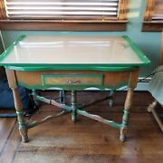 Vintage Porcelain Enamel Top Kitchen Table W/pullout Side Leafs And Drawer