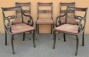 Set Of 5 Antique Grand Ledge Chair Co Duncan Phyfe Style Dining Chairs