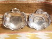 2 Rare Boin Taburet French 950 Silver Oyster Shell Handle Serving Dining Plates