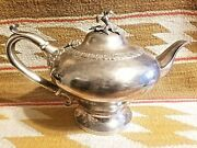 Beautiful Bailey And Kitchen 1830and039s Coin Silver Repousse Flower Top Tea Coffee Pot