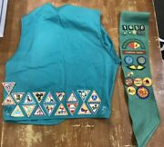Vintage Girl Scout Sash And Vest W/ Around 50 Badges 1980's And 90's Free Shipping