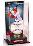 Mike Trout Los Angeles Angels Signed Baseball And Gold Glove Display Case
