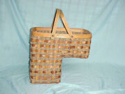 Wicker Stair Step Basket Organizer Large Woven Rope Handle