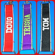 Personalized Lanyard Key Chain Ring Clasp Embroidered Choose Name 6 Colorful Jb