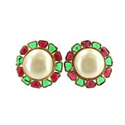 Round Type Earrings Color Stone White Red Green Gold Vintage 90122838