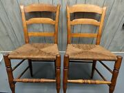 Antique Pair 2 Ladderback Chairs Hand Turned Rush Seat Clean