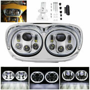 5.75 Chrome Motorcycle Projector Dual Led Headlight For Harley Road Glide
