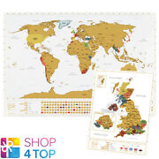 World And Uk Scratch Map Set Travel Tracker Journal Wall Poster White New