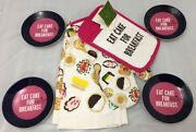 Kate Spade Tidbit Dessert Plates Say The Word Eat Cake For Breakfast And Towel ++
