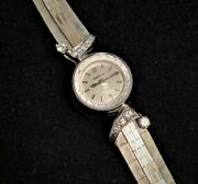 Ladies 18k White Gold And Diamond Cocktail Omega Dress Watch W/ Backwind Mech
