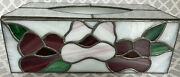 Stained Glass Tissue Box Cover Leaded Metal Edges Flowers