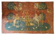 995 - Very Beautiful French Tapestry With Lady With Unicorn Design