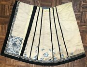 Antique Chinese Silk On Silk Embroidery Skirt 19th Century