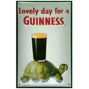 Lovely Day For A Guinness, Embossed3d Metal Advertising Sign 30x20cm Turtle