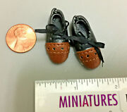 Expensive Black And Brown Men's Wingtip Oxford Shoes Miniature Ken Doll Scale