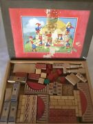 Vintage Antique German Gesch Bvo Wooden Building Blocks Childrenand039s Toy Set And Box