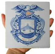 Scarce Late 19th C New York State Seal Glzd Cer Tile W/eagle, Hudson, Mountains