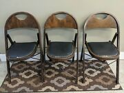 3 Antique 1920s Vintage Solid Kumfort Louis Rastetter And Sons Wood Folding Chairs