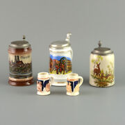 Set Of Five Ceramic Beer Steins With Authentic German Style Images