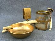 Antique French Smoking Set Early 1900's Brass Horn Hunting Deer Antler