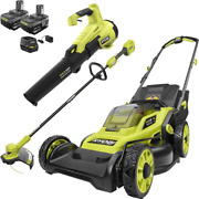 One+ Hp 18-volt Lithium-ion Cordless Battery Walk Behind Push Lawn Mower + Trimm