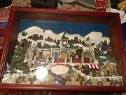 Wooden Box Frame Christmas Village With Lights And Music