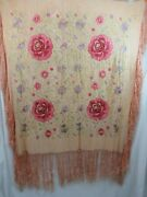 Antique Silk Heavily Embroidered Floral Piano Shawl With Fringe 45x52