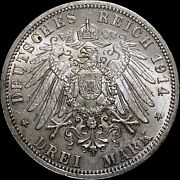 1914 A Germany 3 Mark - Original Mint Luster Ch Unc