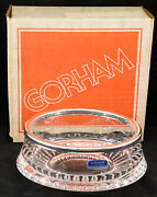 Vintage Gorham Nachtmann Full Lead Crystal Silver Plated Rim Bowl New In Box 1