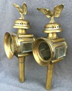 Antique Pair Of French Carriage Lanterns Early 1900's Brass Repousse Eagles