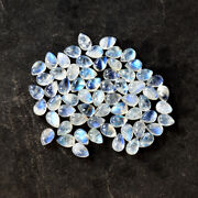 Real Natural Blue Fire Rainbow Moonstone Calibrated 8x11 Mm Pear Shape Cabochon