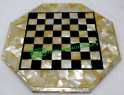 24and039and039 Black Marble Chess Table Top Pietra Dura Inlay Children Game Kids C42