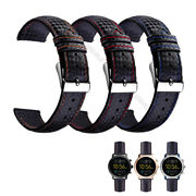 20/22mm Carbon Fiber Wrist Straps Leather Watch Bands For Fossil Q Smart Watch