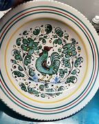 14.75 Inch Nova Deruta Italian Italy Pasta Bowl Rooster With Striped Edges Hand