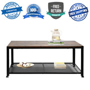 Modern Coffee Table Wood ✅ Parquet Coffee Table Brown Metal Living Room Safe