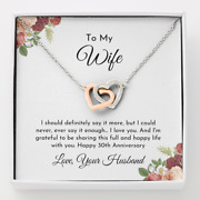 Husband To Wife 30th Wedding Anniversary Romantic Gift Unique Heart Necklace