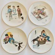Norman Rockwell 1975 Four Seasons Me And My Pals Set Of 4 Plates Gorham China