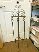 Antique Raw Iron Fireplace Tools Accessories Grabber Poker Shovel 38.5'' Tall