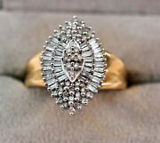 Diamond Cluster And 14k Yellow Gold Ring 77 Diamonds Almost 1 Carat