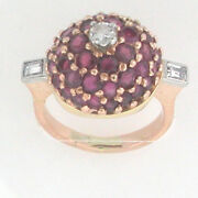 14k Rose Gold Antique Looking State Piece Ruby Diamond Ring 1.75 Cts Size 5 1/4