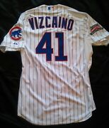 Chicago Cubs Jersey Game Worn Used Arodys Vizcaino Majestic Cool Base Wrigley