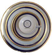 And Co. Blue Band Limoges Fine China Serving Set For 4 Total -20 Pieces